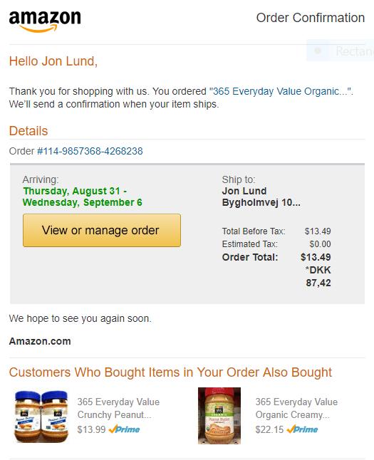 """Her er min kvittering for købet af et glas peanutbutter fra Whole Foods eget """"365 Everyday Value Organic""""-brand. (Men det duede kun, fordi jeg bad om at få leveret i USA. De ville ikke sende til Danmark)."""
